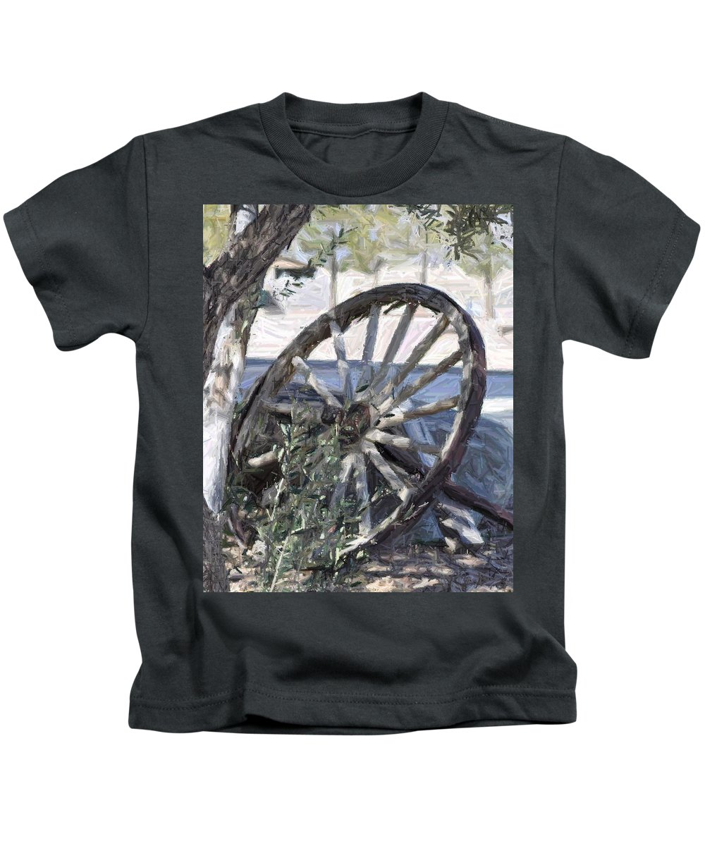 Wagon Kids T-Shirt featuring the photograph Wagon Wheel by Patricia Quandel