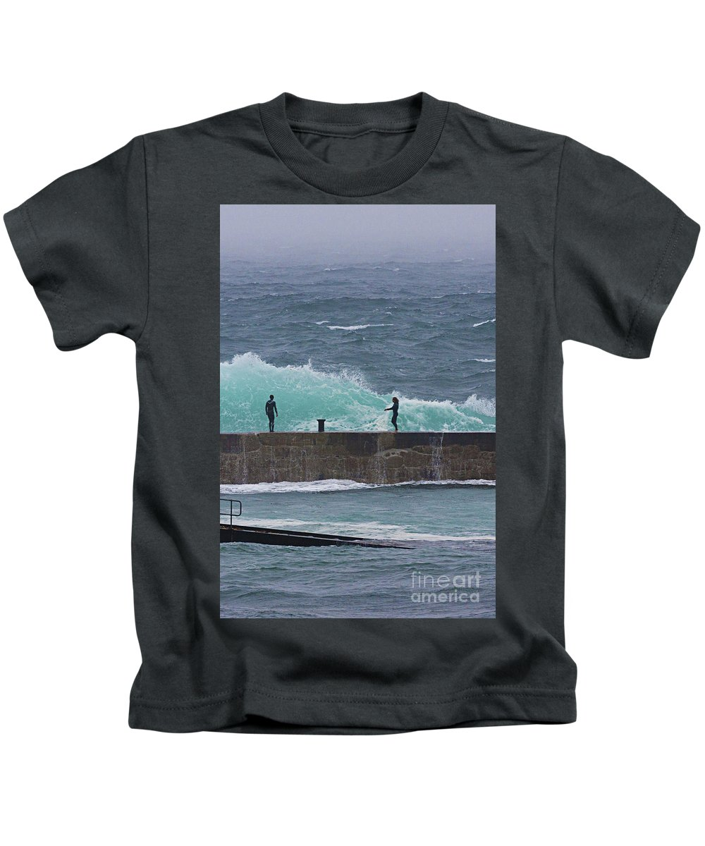 Breakwater Kids T-Shirt featuring the photograph Waiting For The Wave by Terri Waters