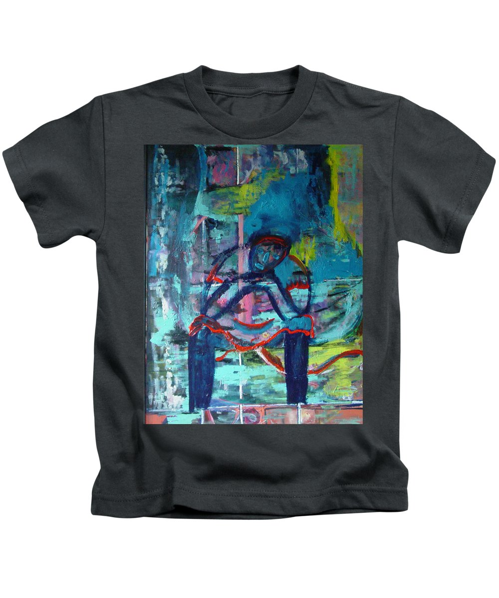 Woman On Bench Kids T-Shirt featuring the painting Waiting by Peggy Blood