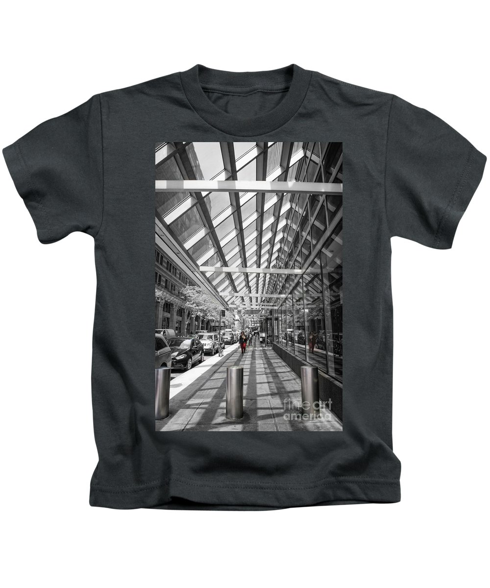 New York City Kids T-Shirt featuring the photograph Walking In Nyc by David B Kawchak Custom Classic Photography