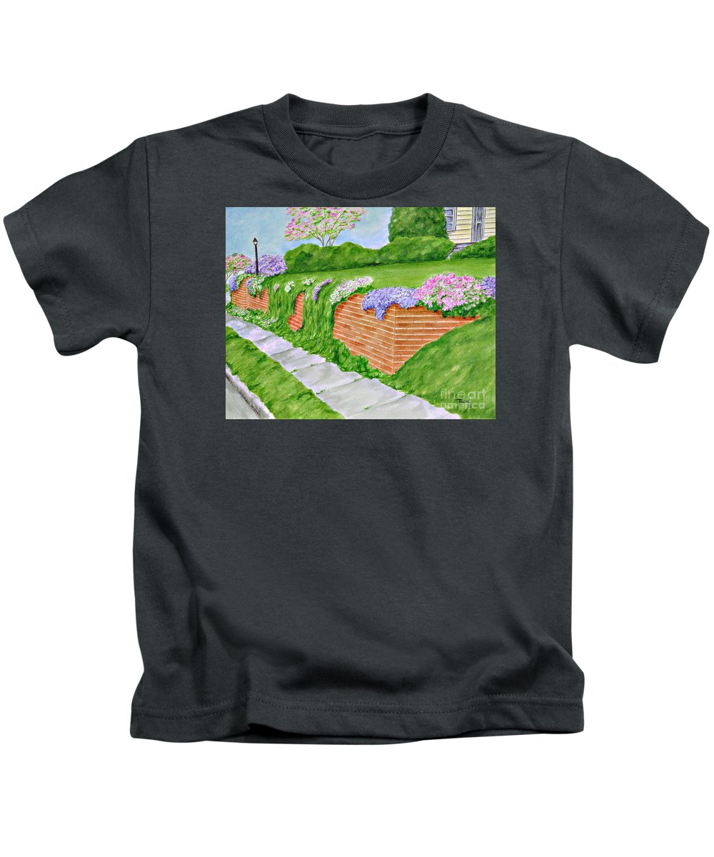 Landscape Kids T-Shirt featuring the painting Wall Of Flowers by Regan J Smith