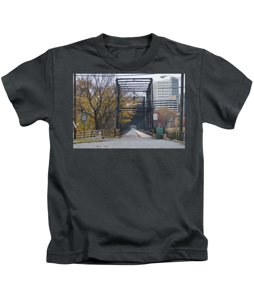 Bridge Kids T-Shirt featuring the photograph Walnut Street Bridge Looking At Harrisburg by Rob Luzier