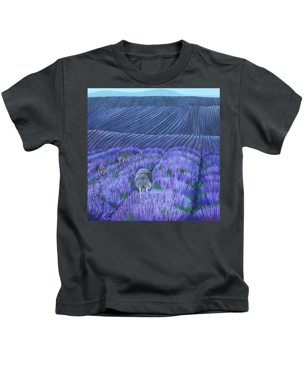 Walrus Kids T-Shirt featuring the painting Walruses In A Field Of Lavender by Erin Nessler