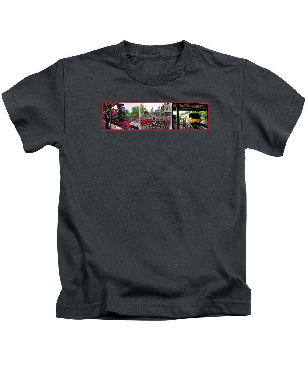 Monorail Kids T-Shirt featuring the photograph Walt Disney World Transportation 3 Panel Composite 02 by Thomas Woolworth