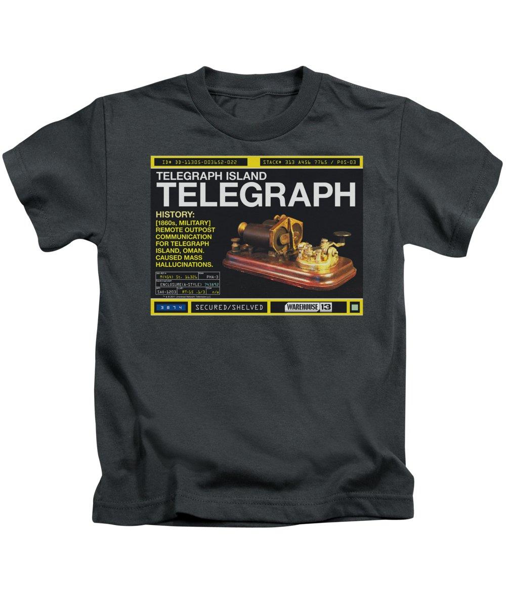 Warehouse 13 Kids T-Shirt featuring the digital art Warehouse 13 - Telegraph Island by Brand A
