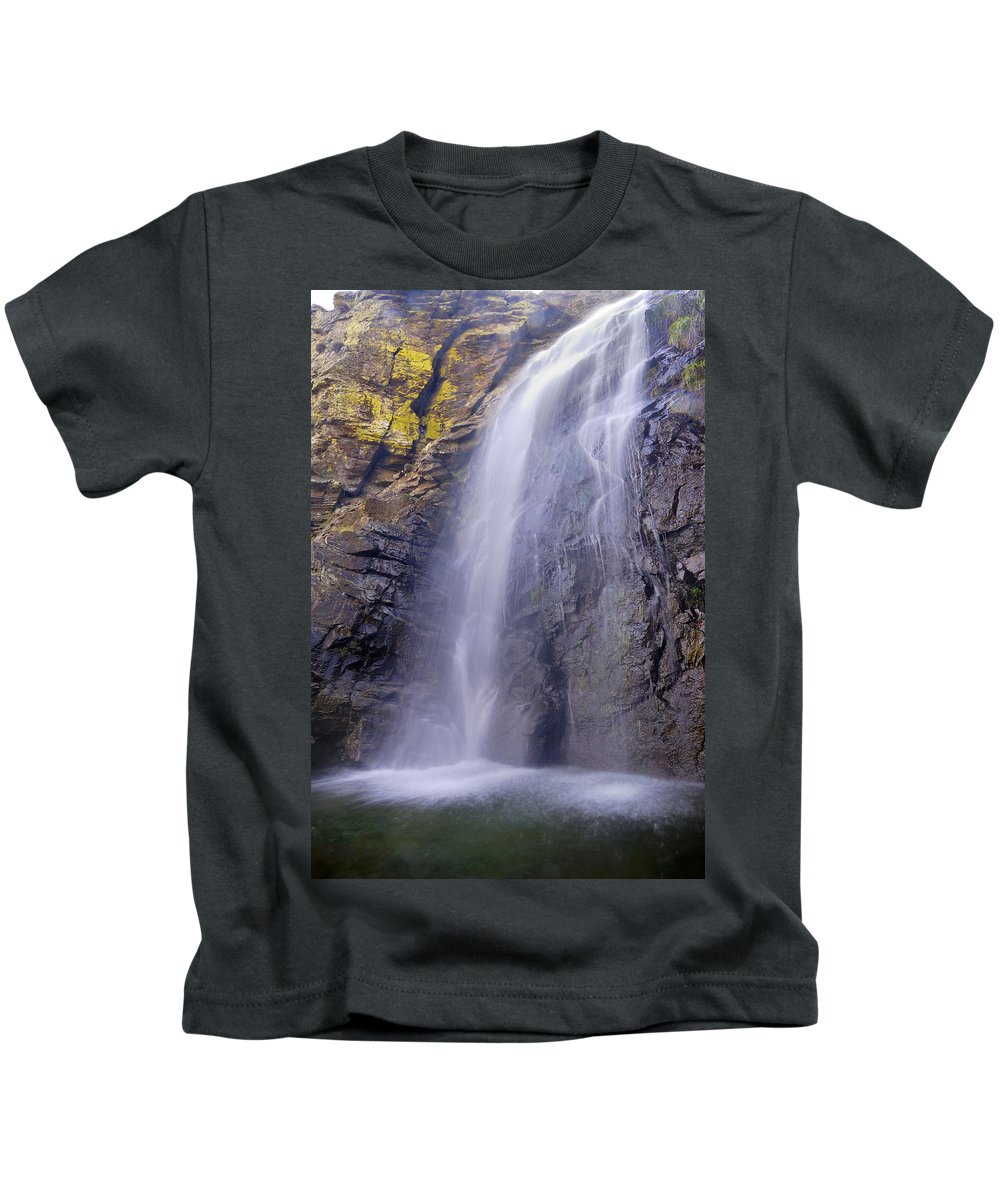 Water Kids T-Shirt featuring the photograph Watefall At The Mountains by Guido Montanes Castillo