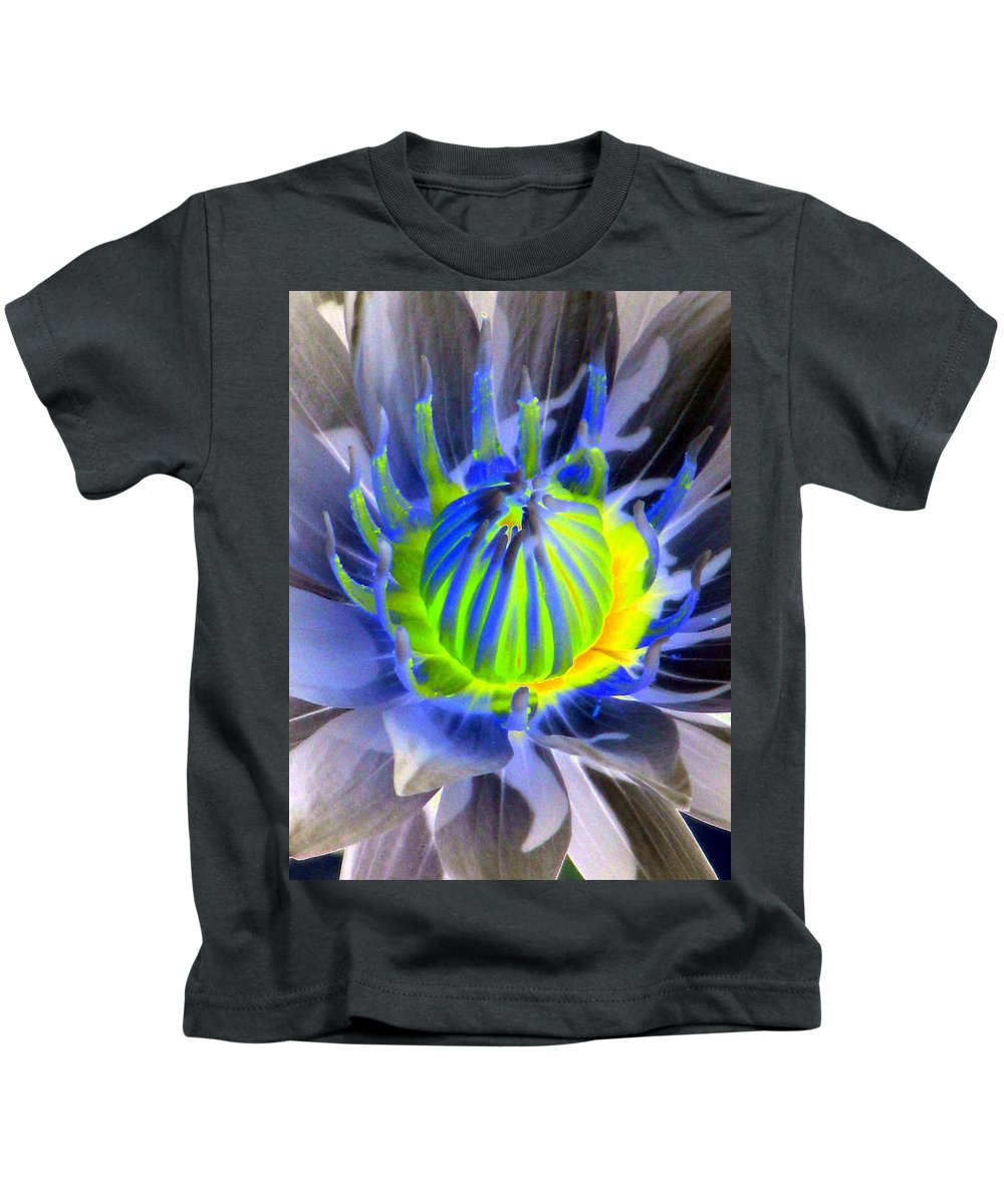 Water Lily Kids T-Shirt featuring the photograph Water Lily - The Awakening - Photopower 03 by Pamela Critchlow
