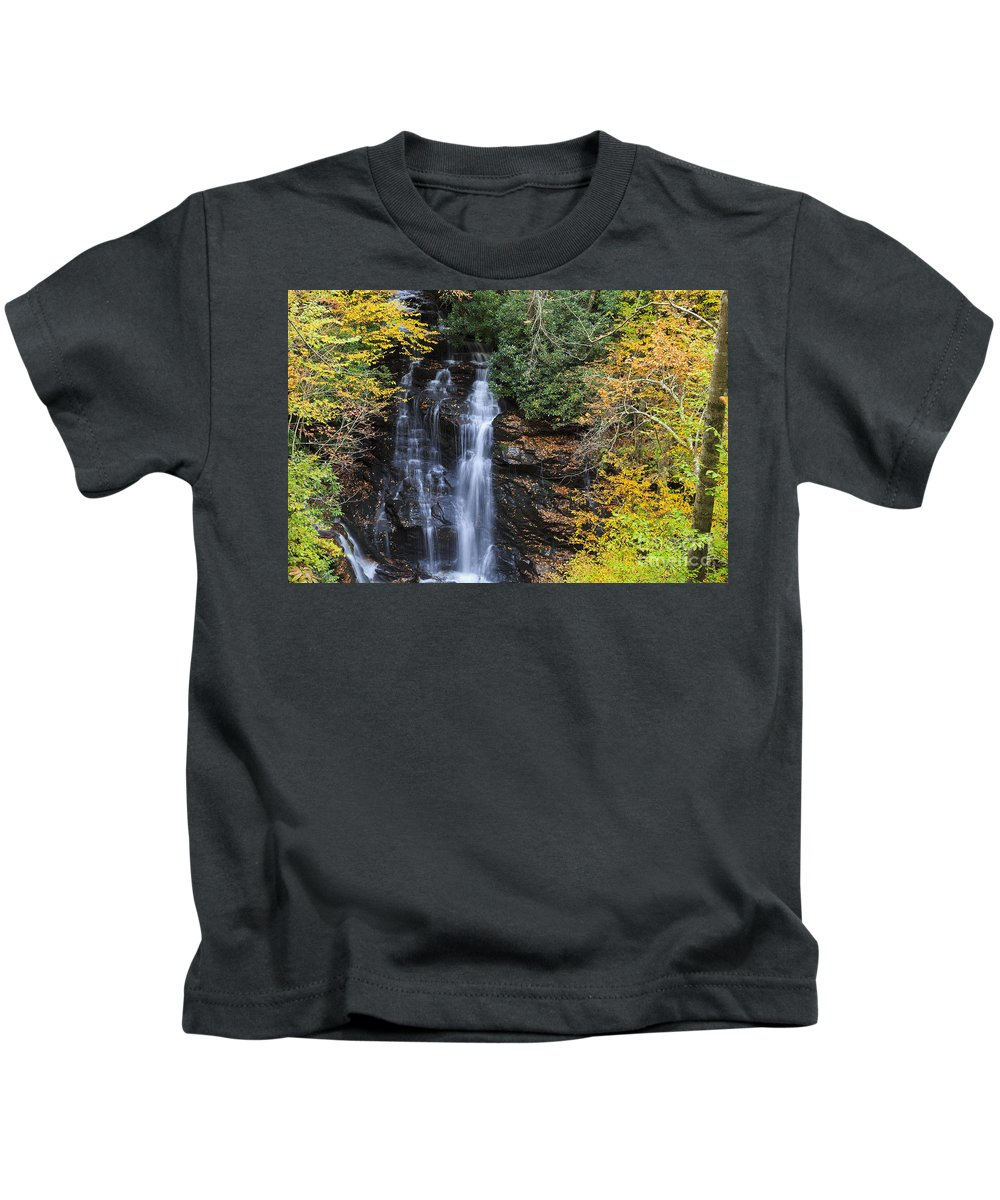 Soco Kids T-Shirt featuring the photograph Waterfall In Autumn by Jill Lang