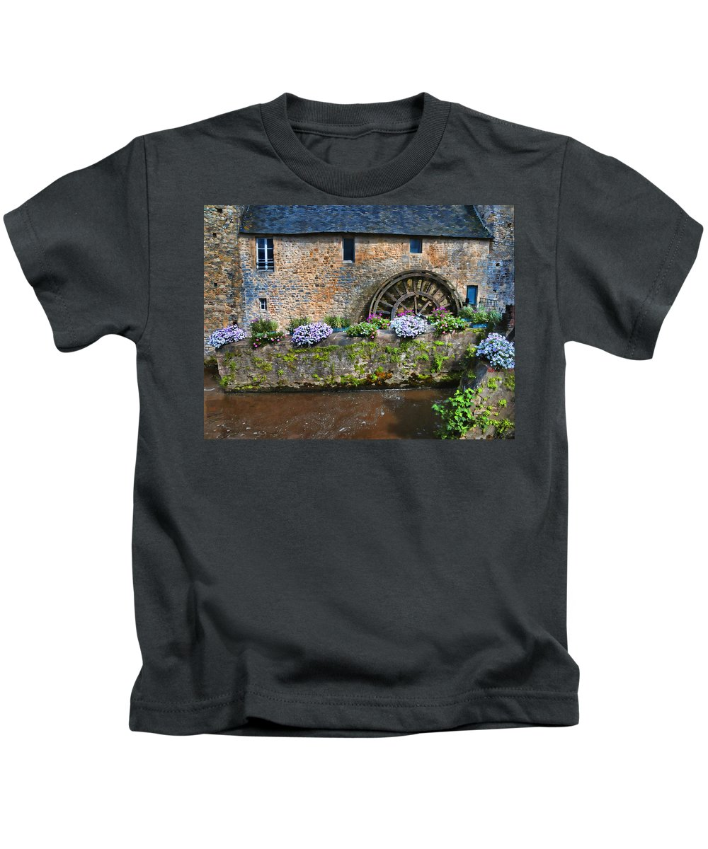 Waterwheel Kids T-Shirt featuring the photograph Waterwheel In Brittany by Dave Mills