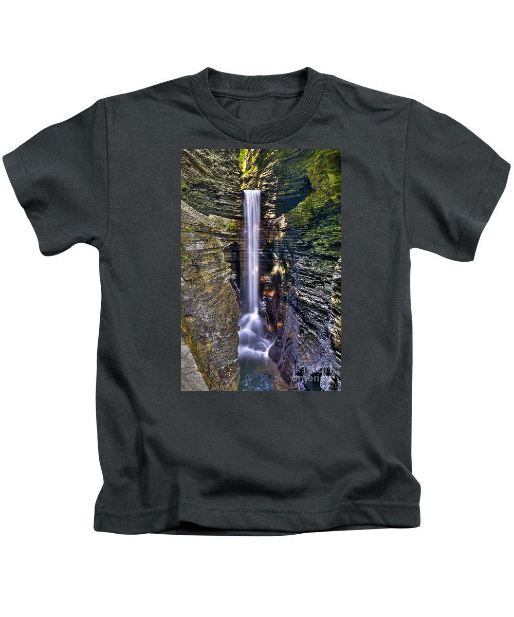 Watkins Glen Kids T-Shirt featuring the photograph Watkins Glen Cascade by Anthony Sacco
