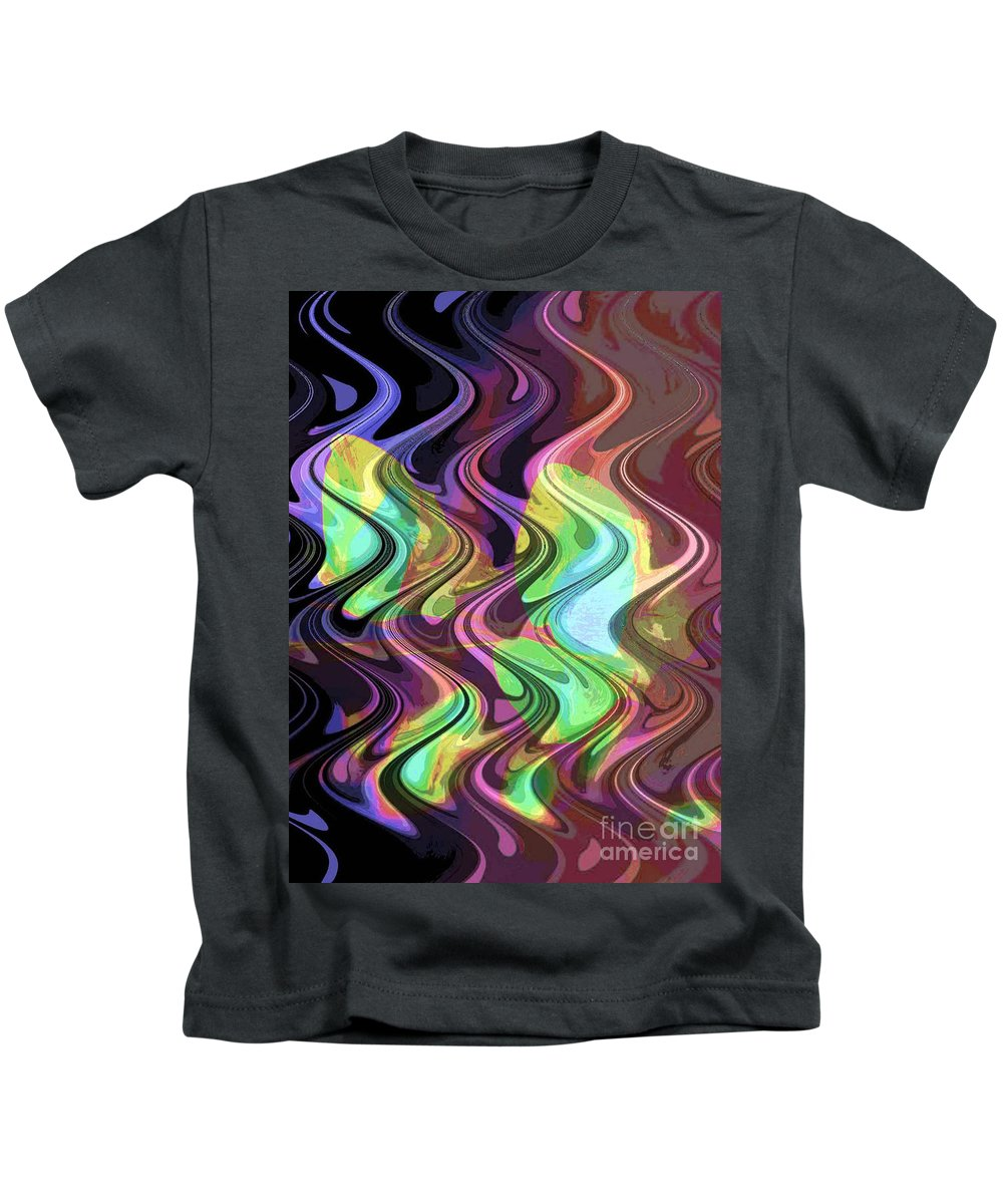 Digital Art Abstract Kids T-Shirt featuring the digital art Wavy by Yael VanGruber