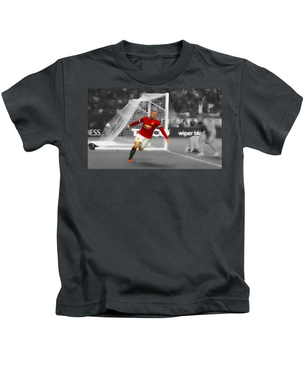 Wayne Rooney Kids T-Shirt featuring the digital art Wayne Rooney Scores Again by Brian Reaves