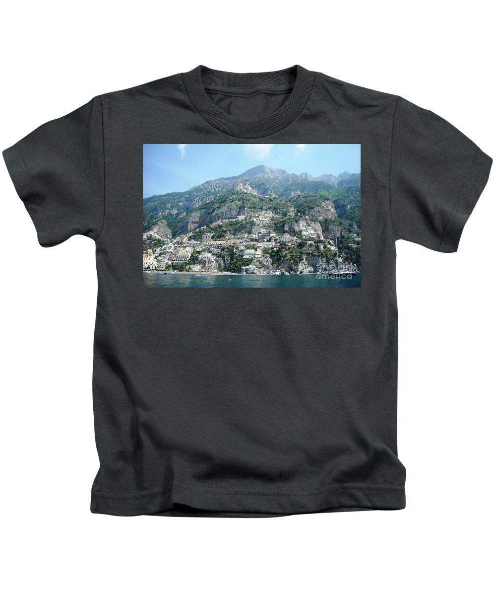 Positano Kids T-Shirt featuring the photograph Welcoming Positano by Lisa Kilby