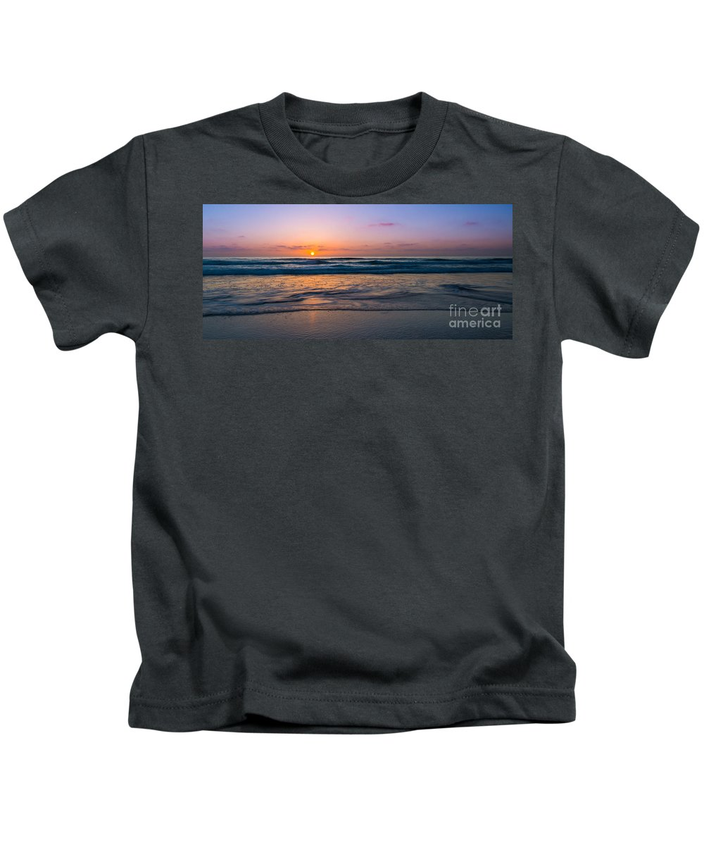 At Peace Kids T-Shirt featuring the photograph West Coast Sunset Cool Tones by Michael Ver Sprill