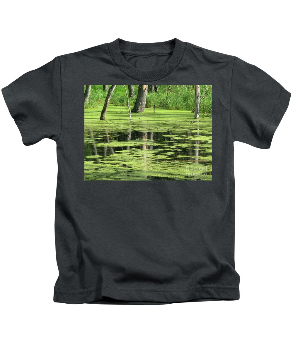 Landscape Kids T-Shirt featuring the photograph Wetland Reflection by Ann Horn