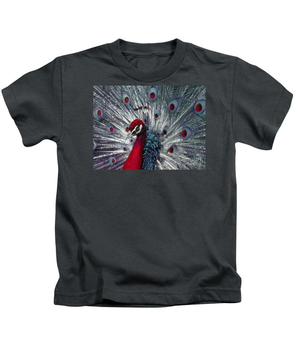 Peacock Kids T-Shirt featuring the photograph What If - A Fanciful Peacock by Ann Horn