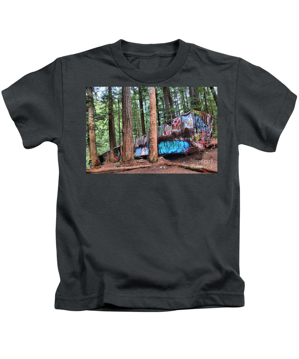 Train Wreck Kids T-Shirt featuring the photograph Whistler Train Wreckage In The Trees by Adam Jewell
