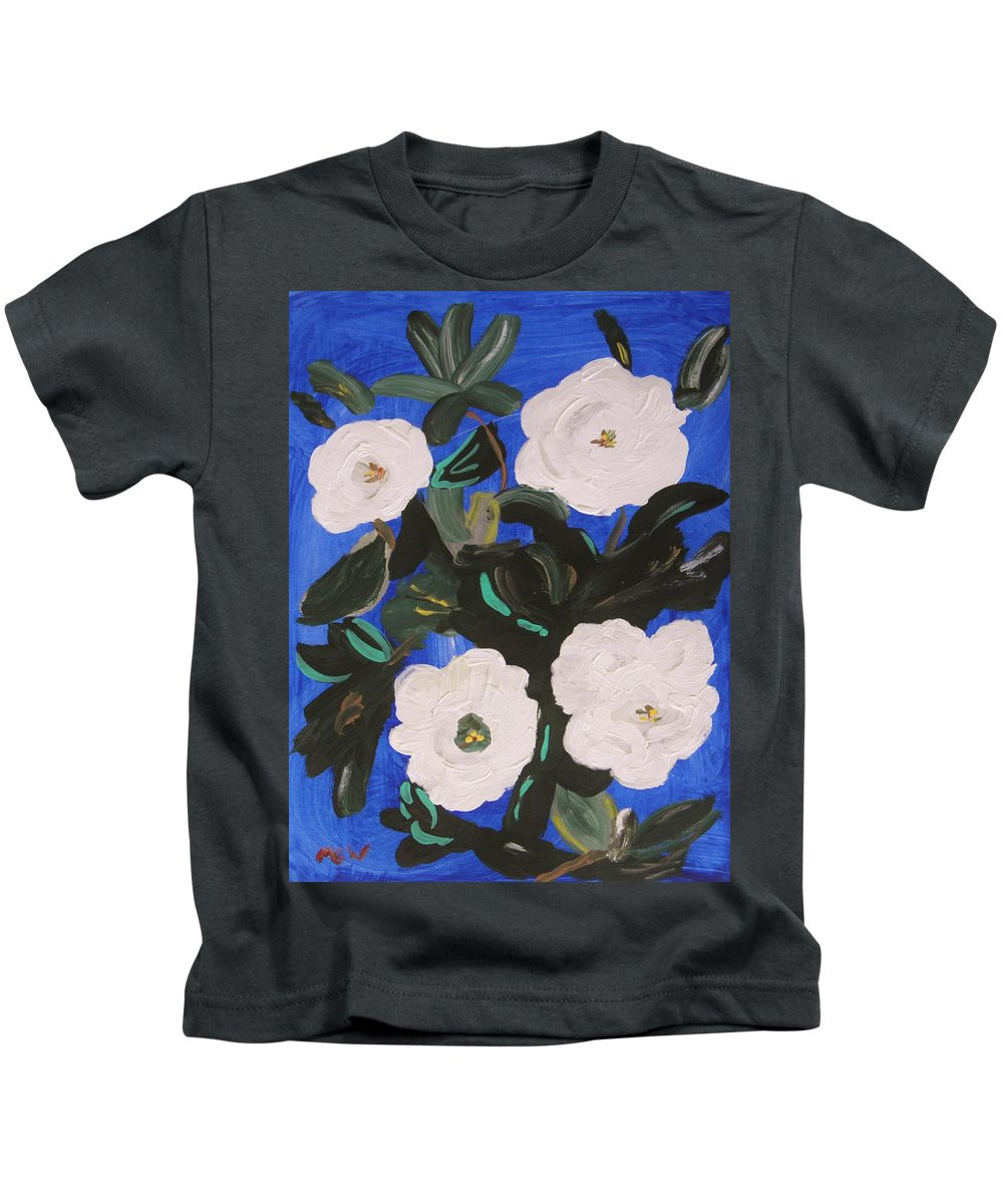 Magnolias Kids T-Shirt featuring the painting White Magnolias On Deep Blue by Mary Carol Williams