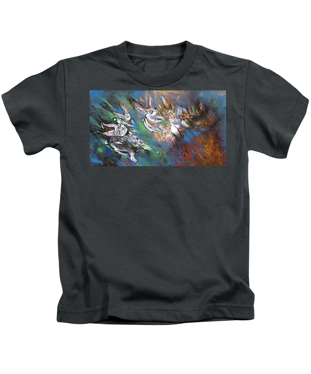Fantasy Kids T-Shirt featuring the painting White Rabbits On The Run by Miki De Goodaboom