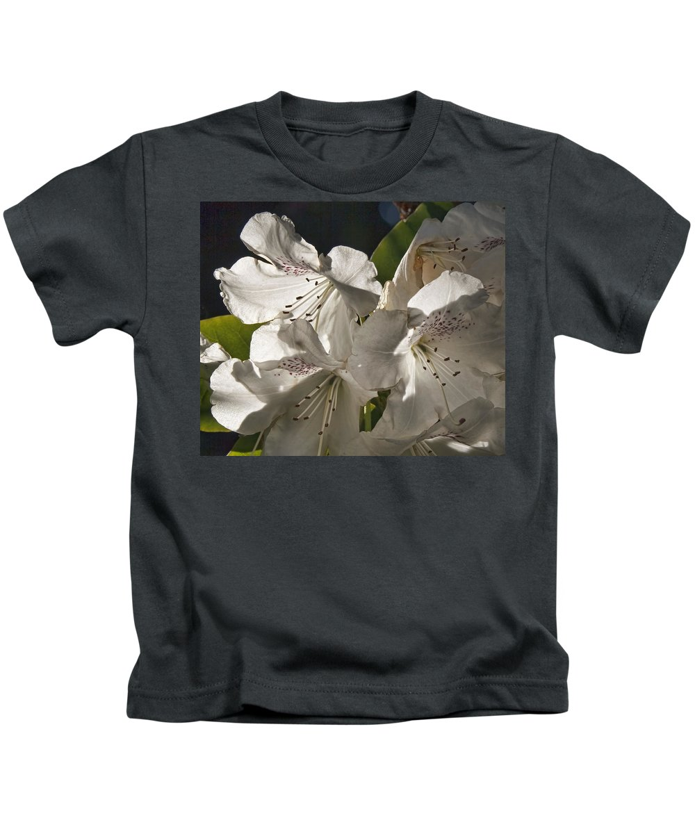 White Rhododendron B Kids T-Shirt featuring the photograph White Rhododendron B by Wes and Dotty Weber
