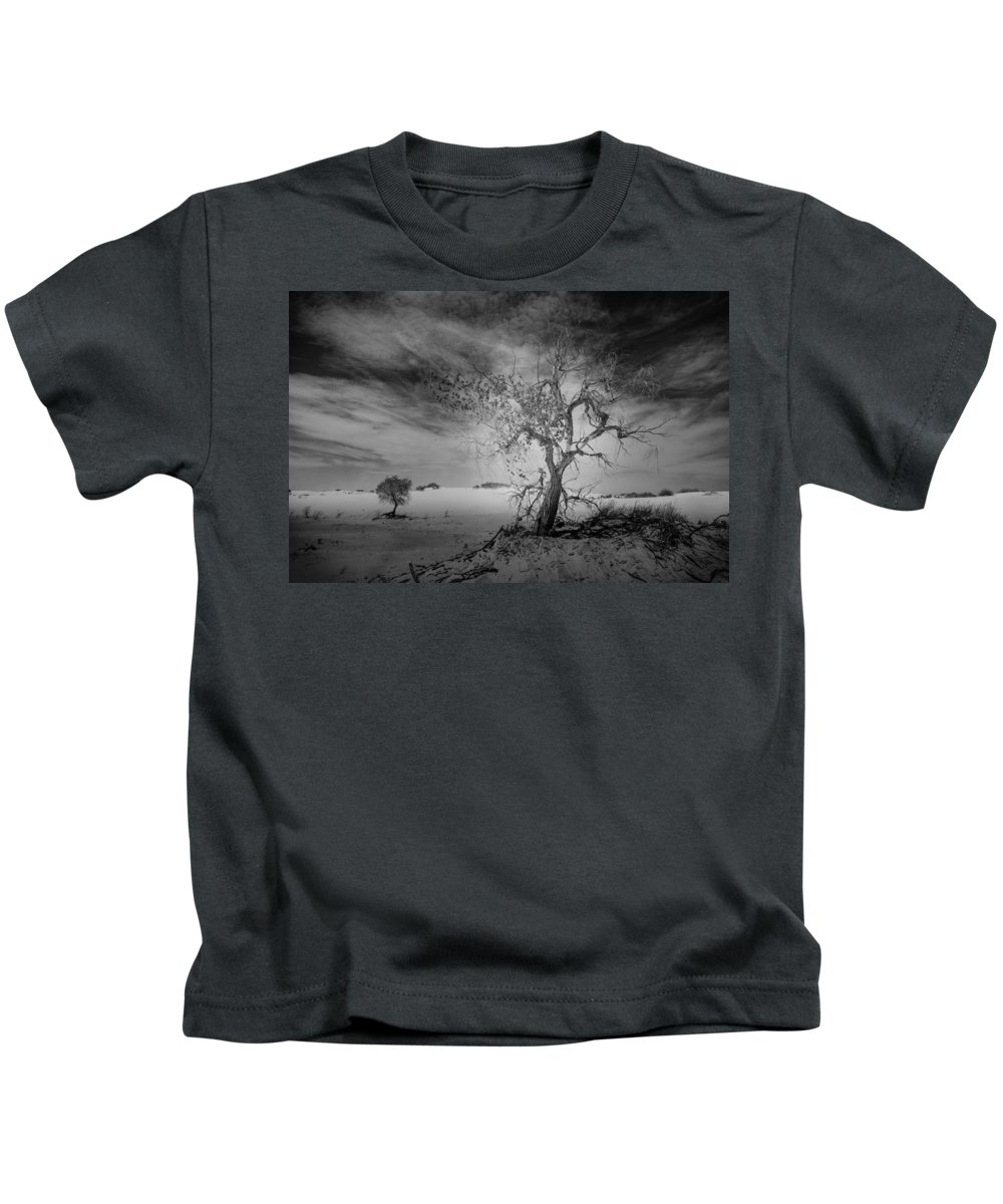 White Sands Kids T-Shirt featuring the photograph White Sands National Monument 1 Dark Mono by Gareth Burge Photography