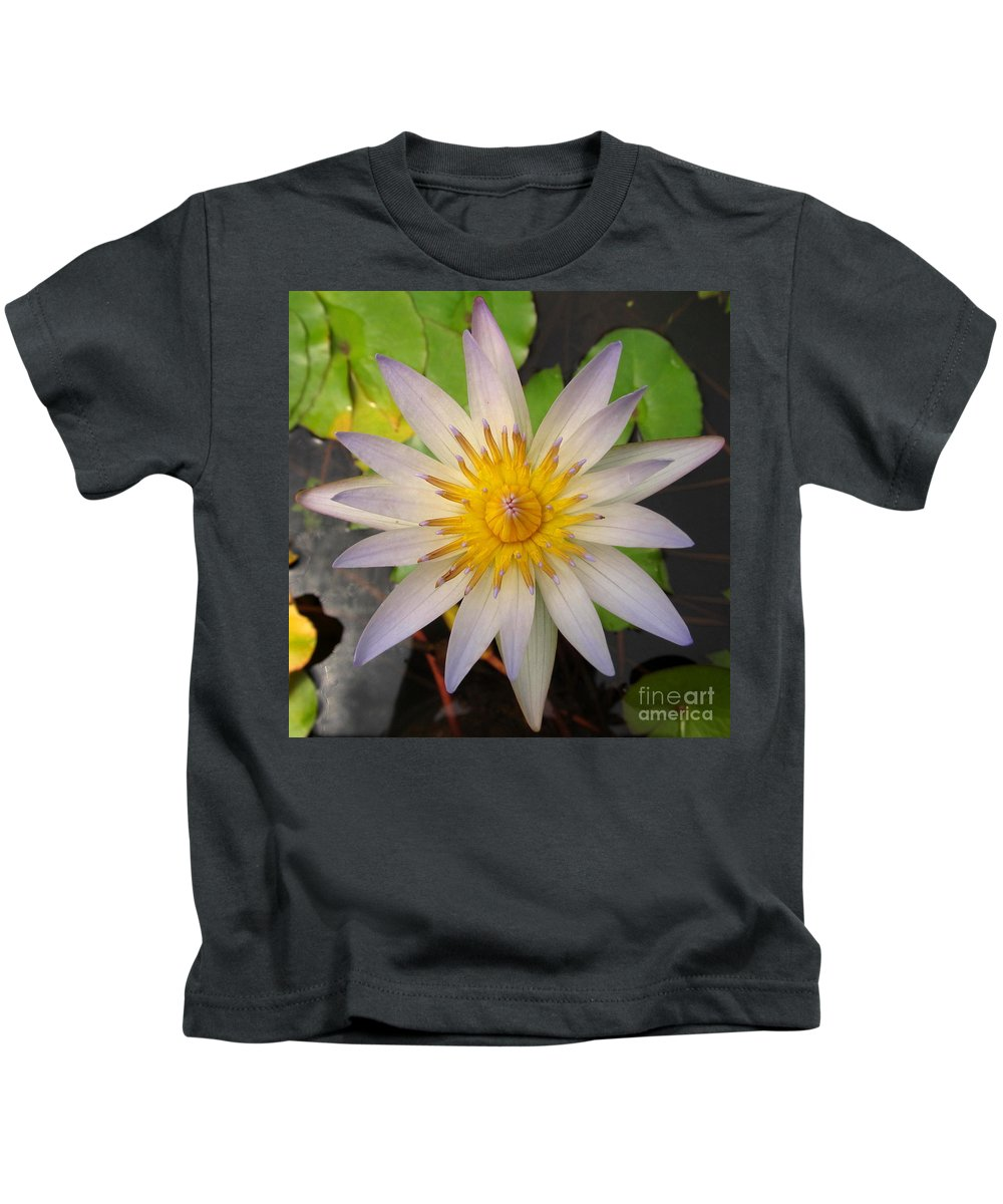 White Star Lotus White Lotus Flower Aquatic Flowers Aquatic Flora Aquatic Plants Water Garden Flora Pond Plants White Water Lily Lotus Blooms Lotus Blossoms Divine Design In Nature Rare Flowers Exotic Flora Beautiful Being Kids T-Shirt featuring the photograph White Star Lotus by Joshua Bales