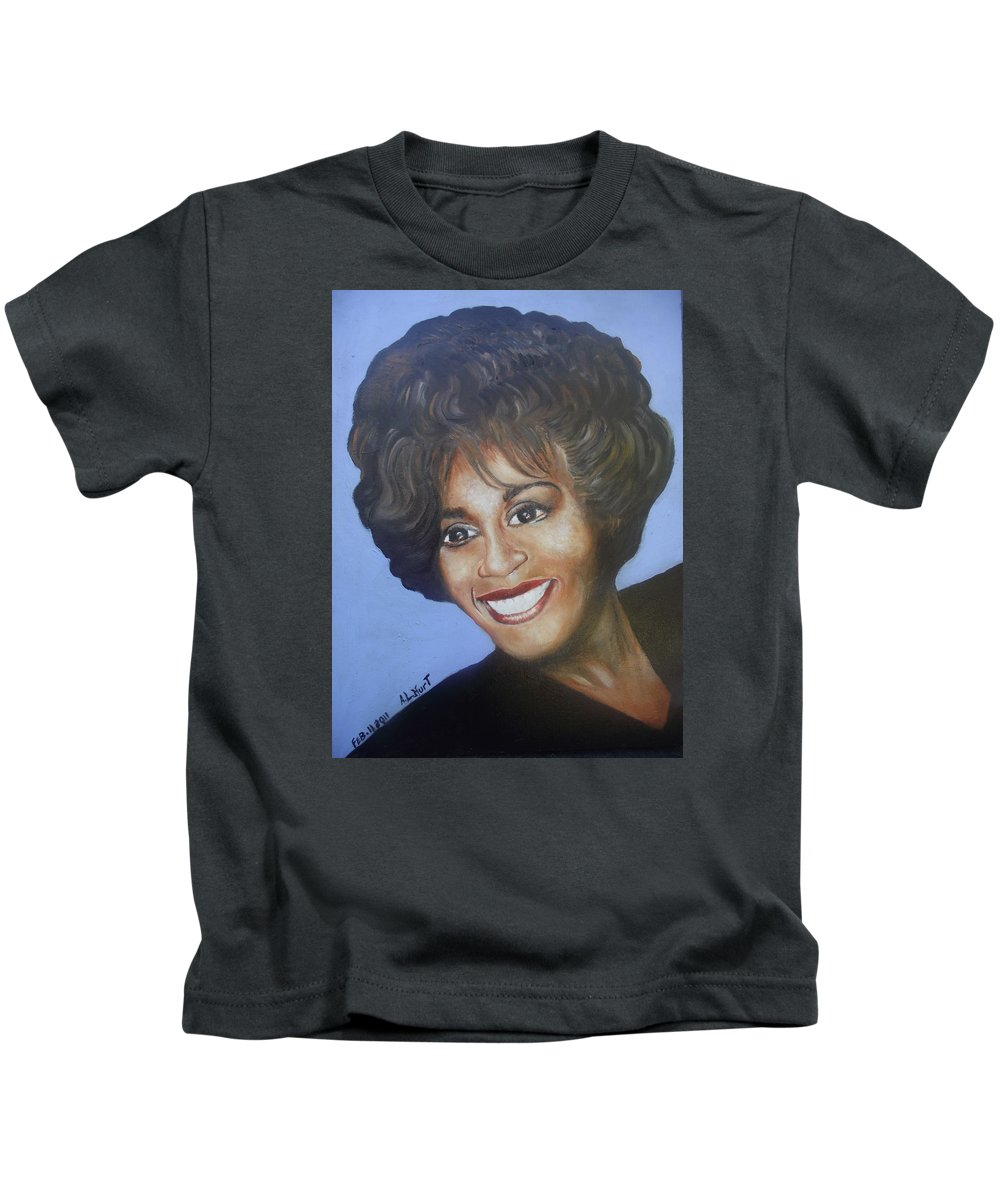 Music Kids T-Shirt featuring the painting Whitney by Anthony L Robert S Hurt