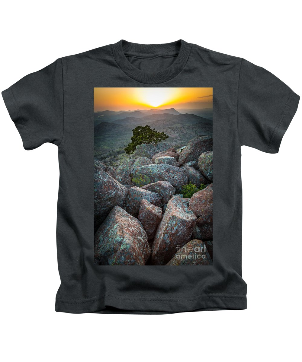 America Kids T-Shirt featuring the photograph Wichita Mountains by Inge Johnsson