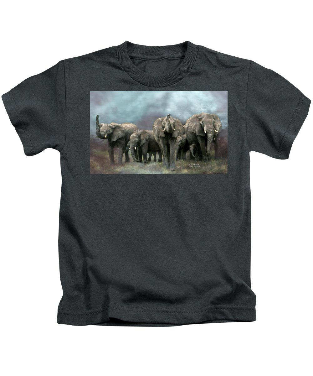 Elephant Kids T-Shirt featuring the mixed media Wild Family by Carol Cavalaris