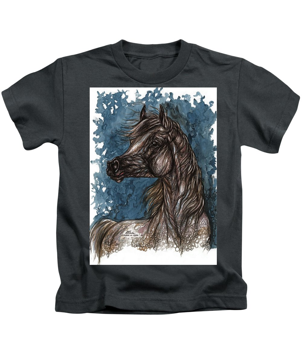 Blue Kids T-Shirt featuring the painting Wind In The Mane by Angel Ciesniarska