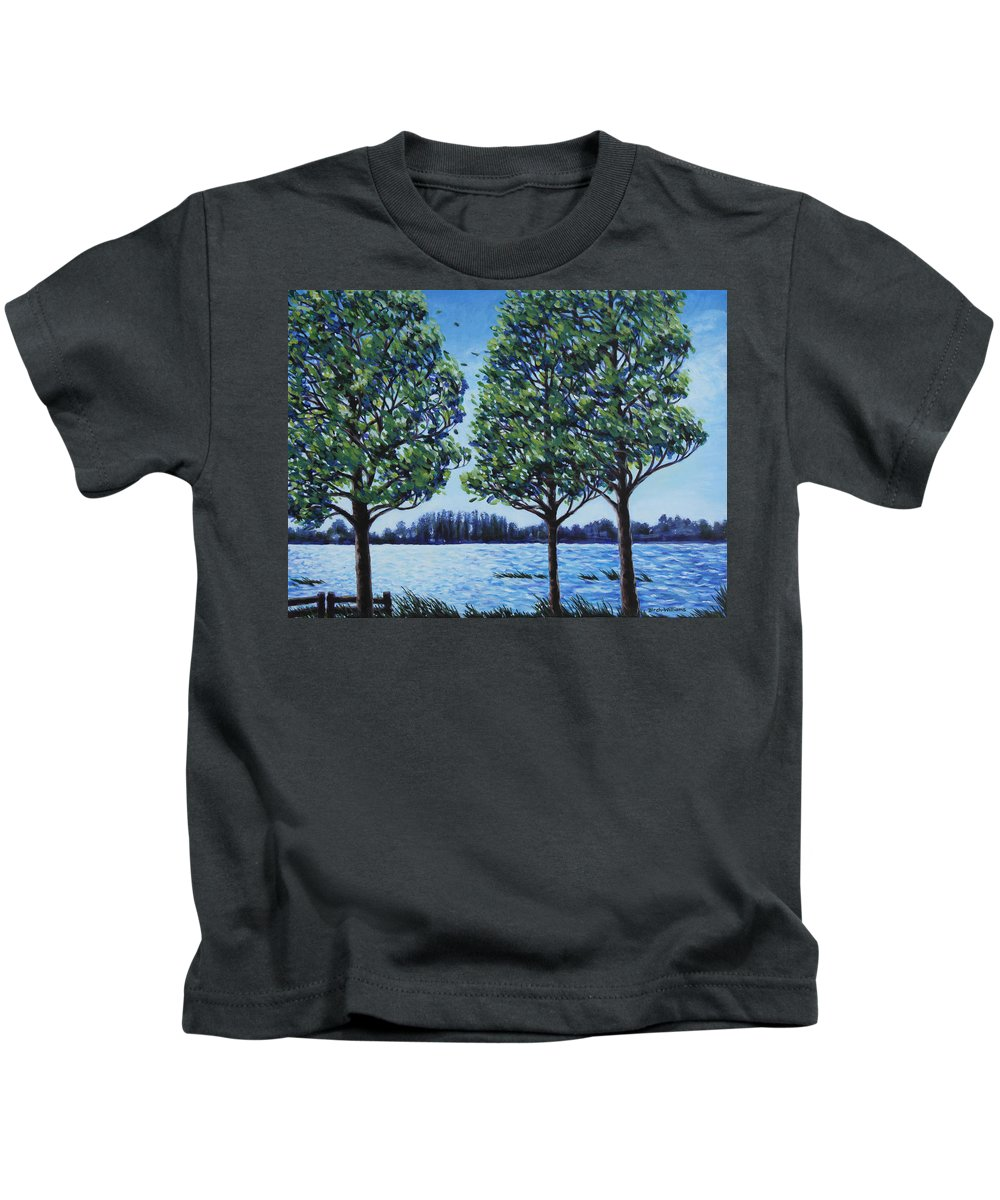 Lake Kids T-Shirt featuring the painting Wind In The Trees by Penny Birch-Williams