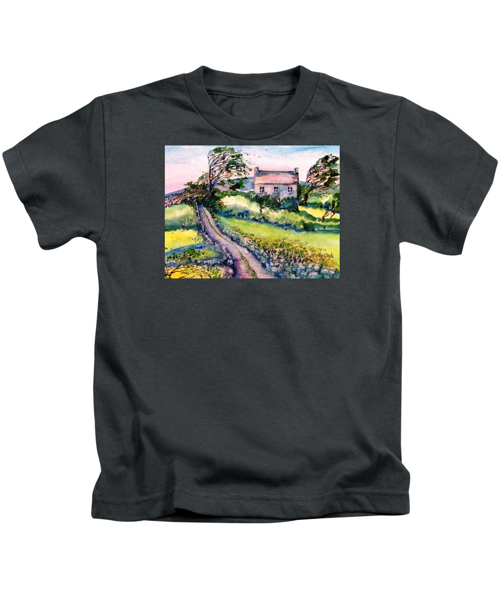 Island Landscape Kids T-Shirt featuring the painting Windy Day Clear Island by Trudi Doyle
