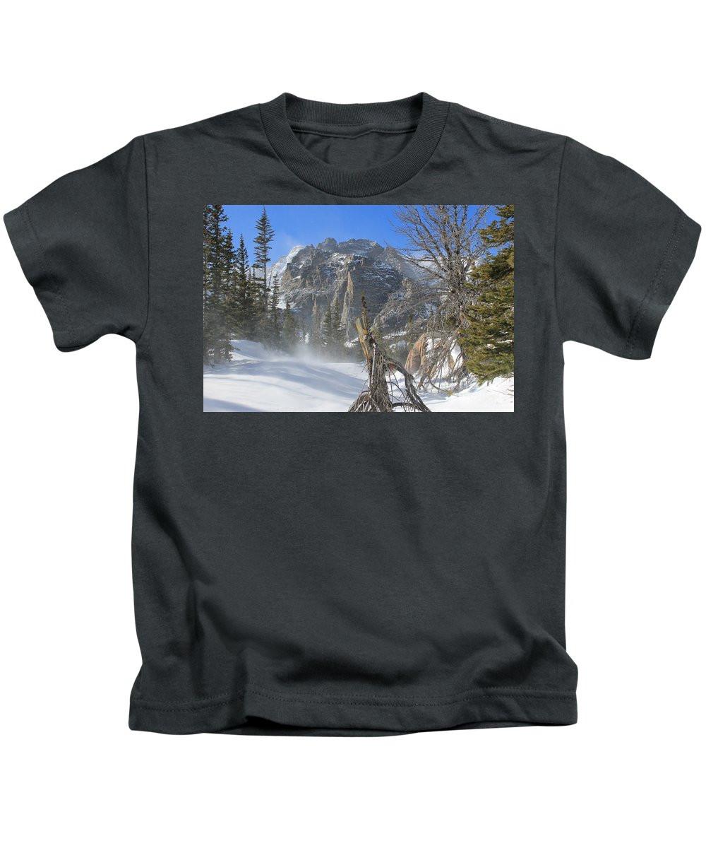 Winter Kids T-Shirt featuring the photograph Winter At Loch Vale 2 by Tonya Hance