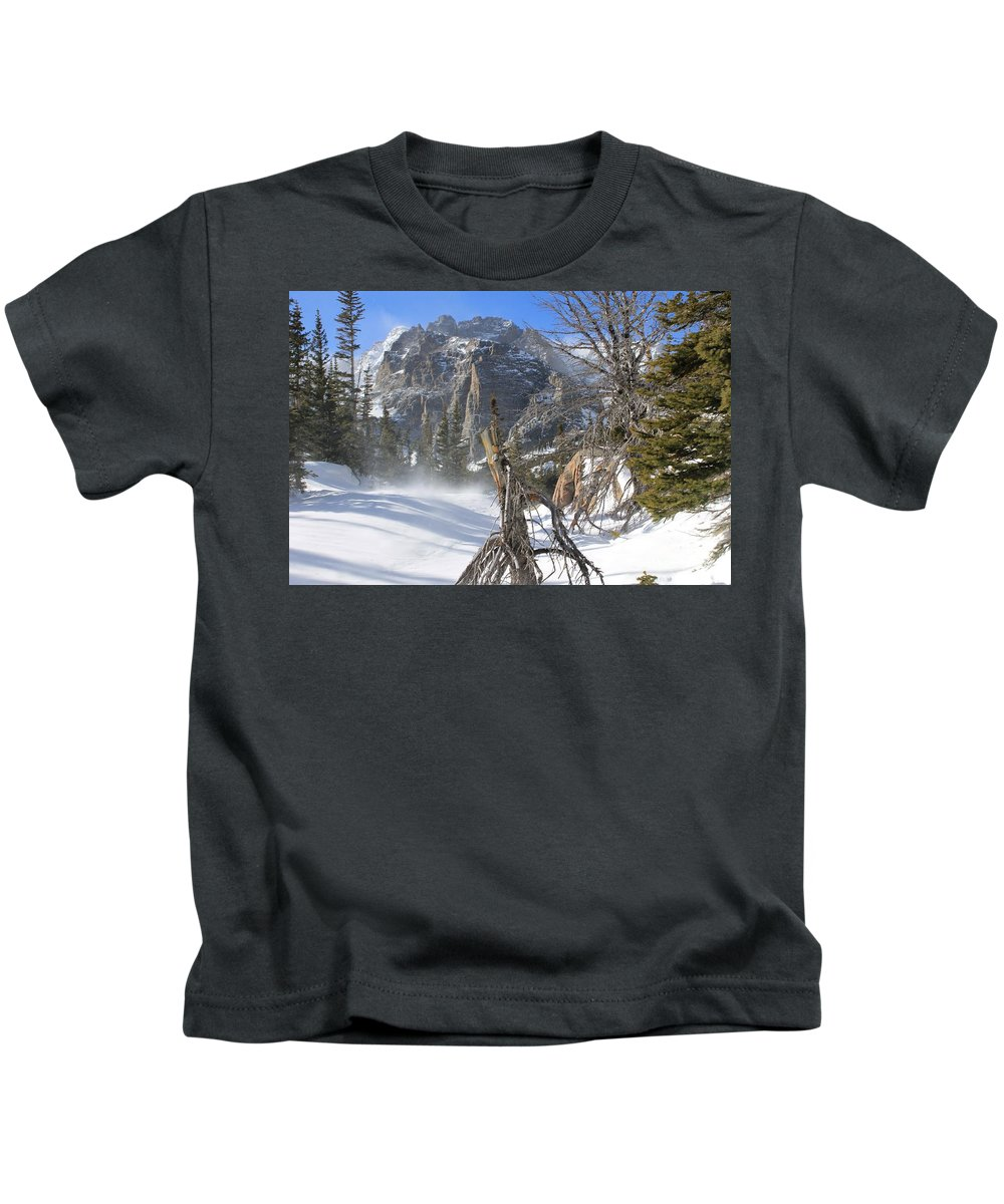 Winter Kids T-Shirt featuring the photograph Winter At Loch Vale by Tonya Hance