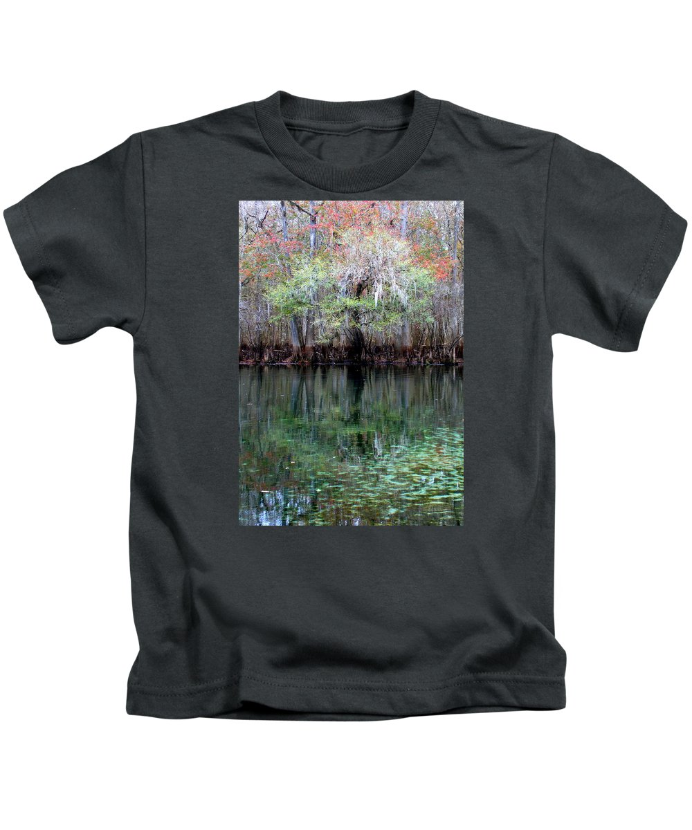 Manatee Springs Chiefland Florida Kids T-Shirt featuring the photograph Winter At The Springs 1 by Sheri McLeroy