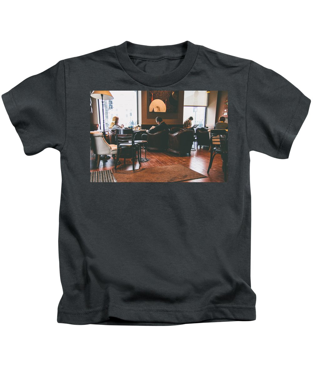 Cafe Kids T-Shirt featuring the photograph Winter Drink by Pati Photography