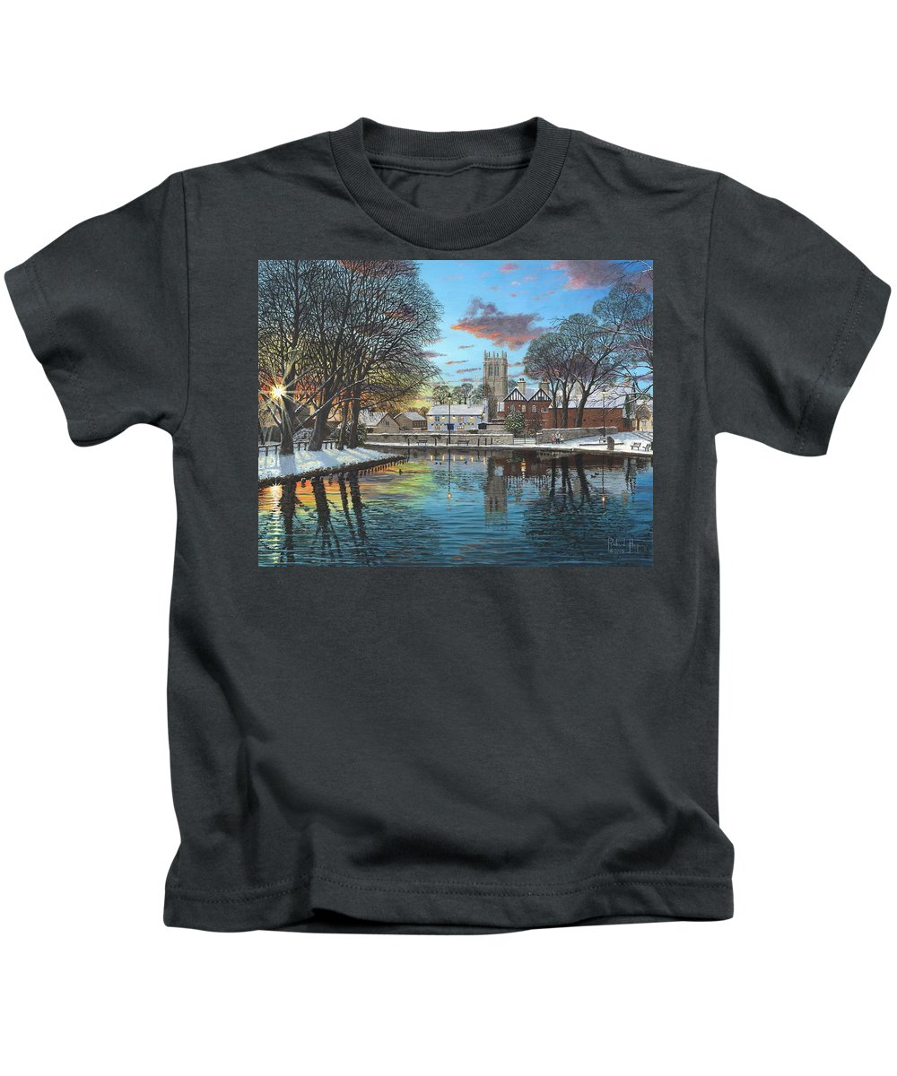 Tickhill Kids T-Shirt featuring the painting Winter Evening Tickhill Yorkshire by Richard Harpum
