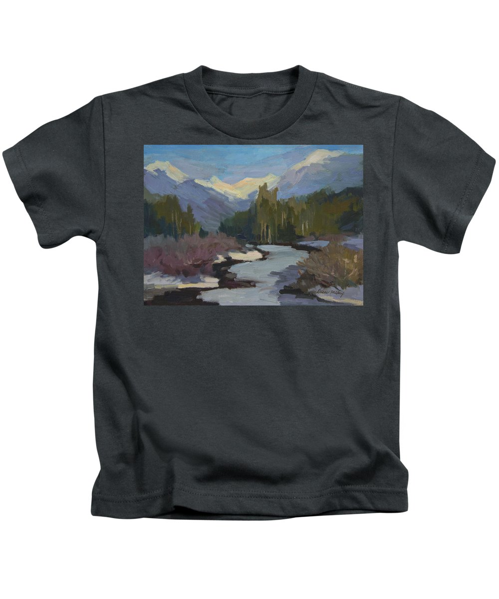 Winter Kids T-Shirt featuring the painting Winter In The Cascade Mountains by Diane McClary