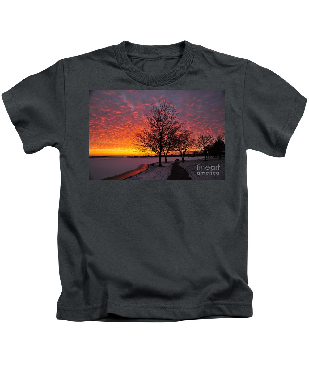 Winter Kids T-Shirt featuring the photograph Winter Sunset by Terri Gostola