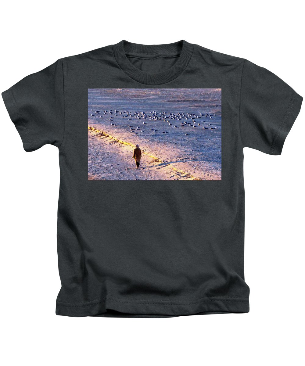 Winter Kids T-Shirt featuring the photograph Winter Time At The Beach by Cynthia Guinn
