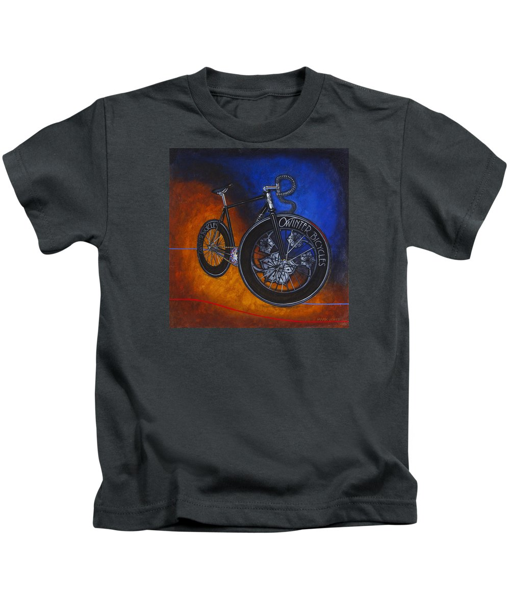 Winter Kids T-Shirt featuring the painting Winter Track Bicycle by Mark Jones