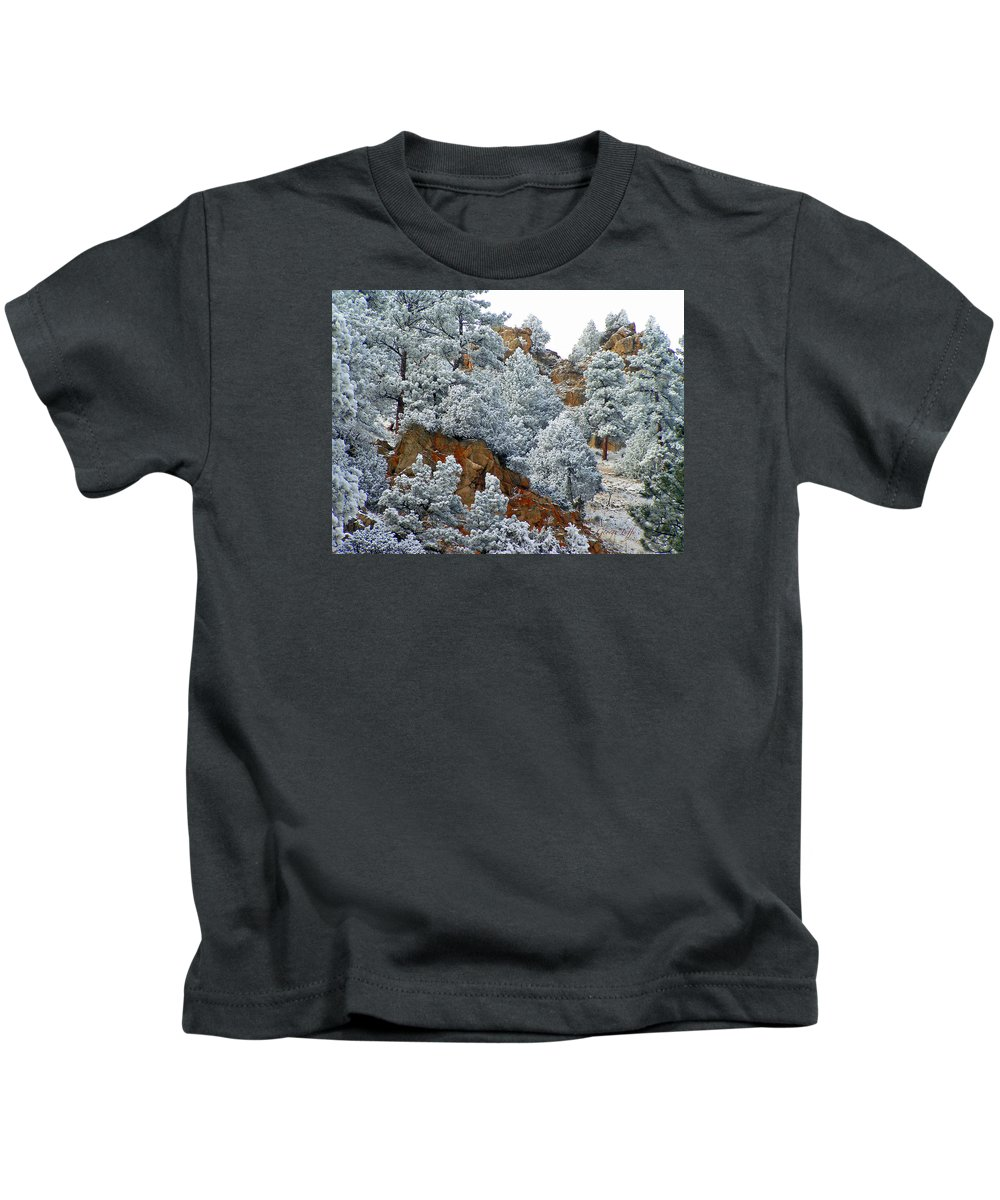 Winter Wonder Land Frost Snow Nature Rocks Colorado Simple Zen Rocky Mountains Kids T-Shirt featuring the photograph Winter Wonder Land by George Tuffy