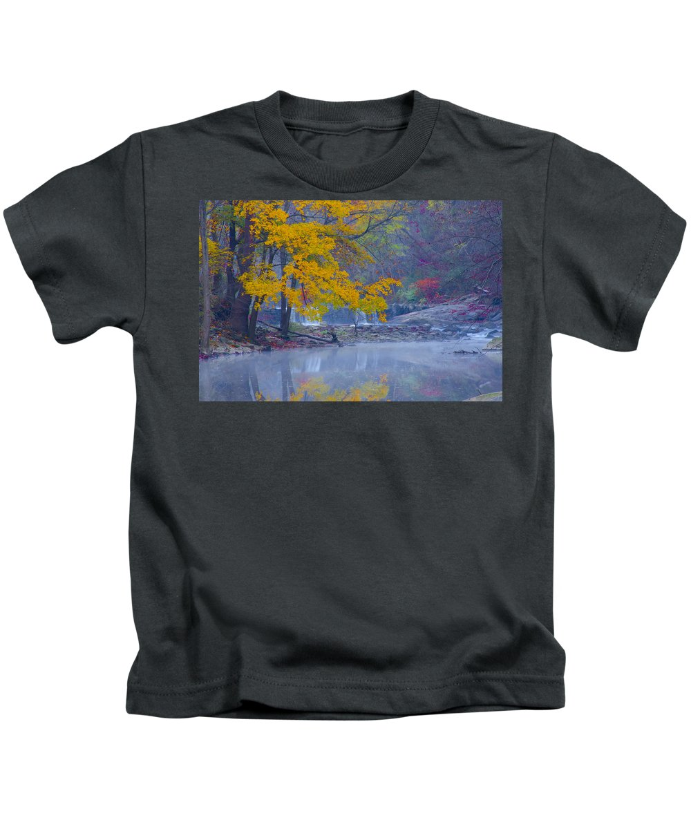 Wissahickon Kids T-Shirt featuring the photograph Wissahickon Morning In Autumn by Bill Cannon