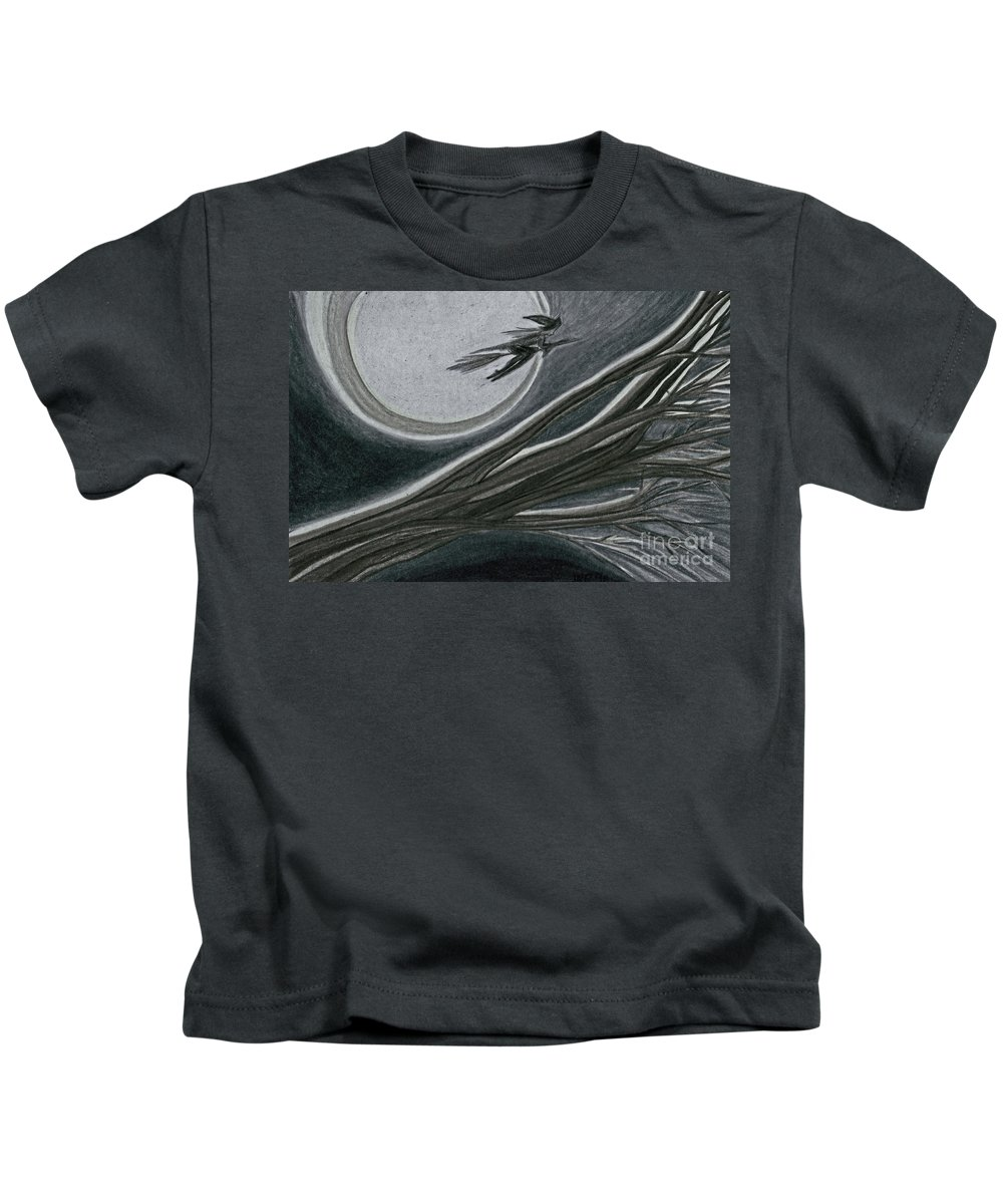 Irst Star Art Kids T-Shirt featuring the drawing Witches' Branch Grey By Jrr by First Star Art