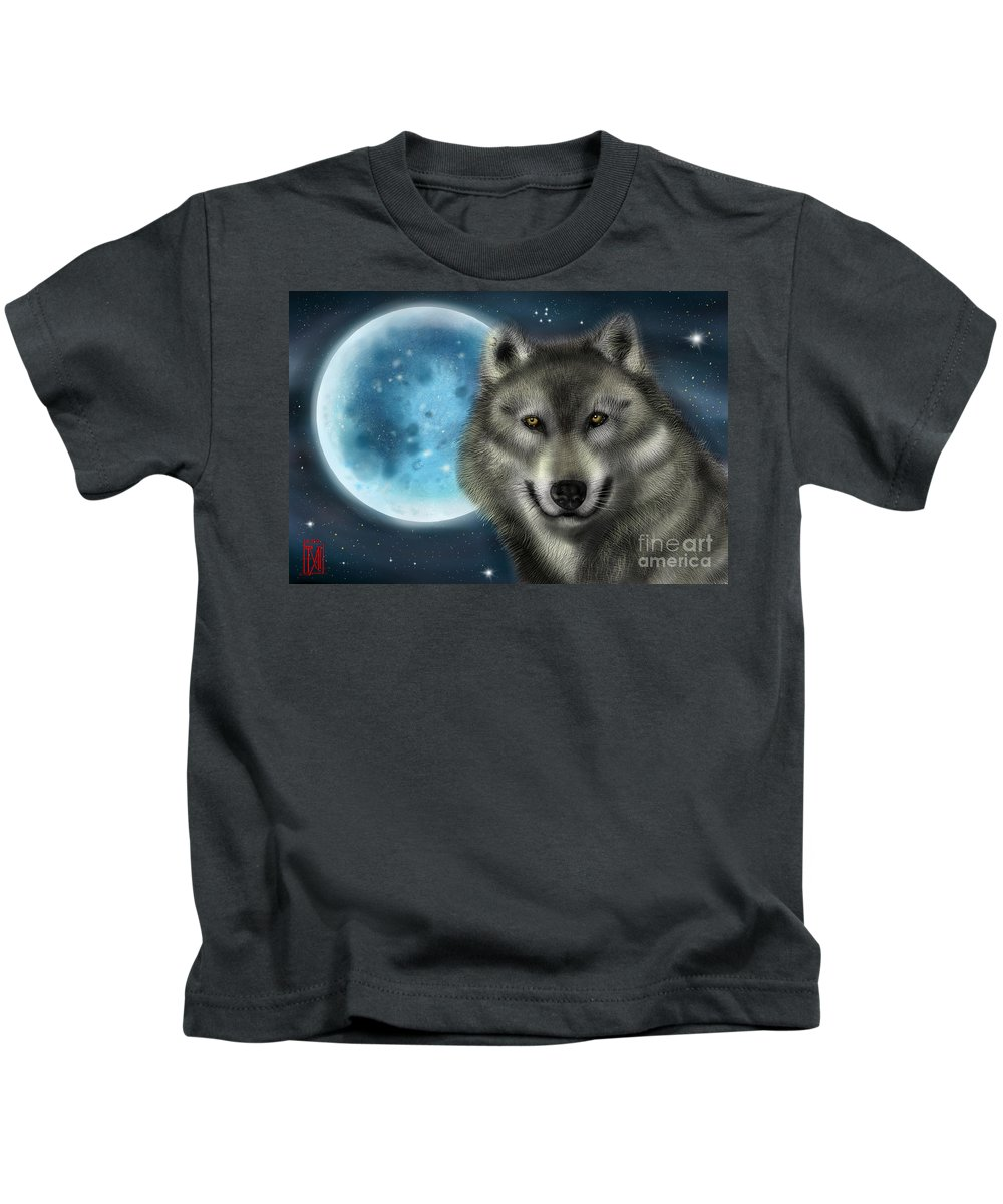 Digital Paiting. Kids T-Shirt featuring the digital art Wolf by Tommy Villarreal