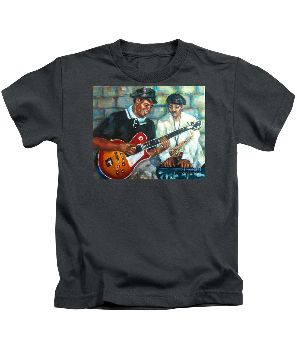 Guitar Kids T-Shirt featuring the painting Wolfman by Beverly Boulet