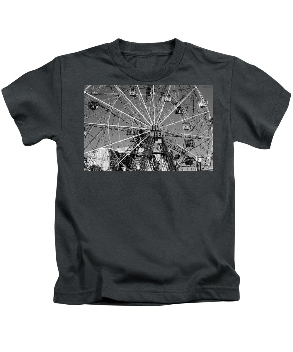 Brooklyn Kids T-Shirt featuring the photograph WONDER WHEEL of CONEY ISLAND in BLACK AND WHITE by Rob Hans
