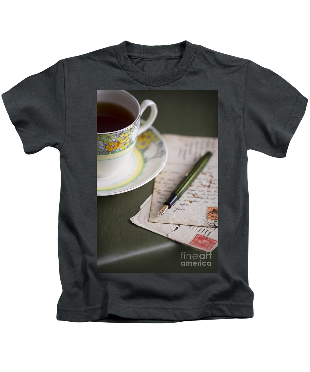 Correspondence Kids T-Shirt featuring the photograph Writing A Post Card by Lee Avison