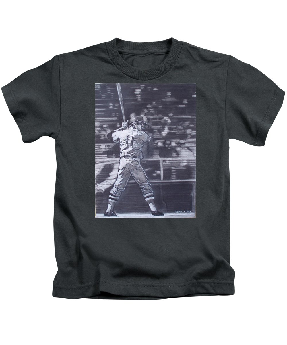Charcoal Kids T-Shirt featuring the drawing Yaz - Carl Yastrzemski by Sean Connolly