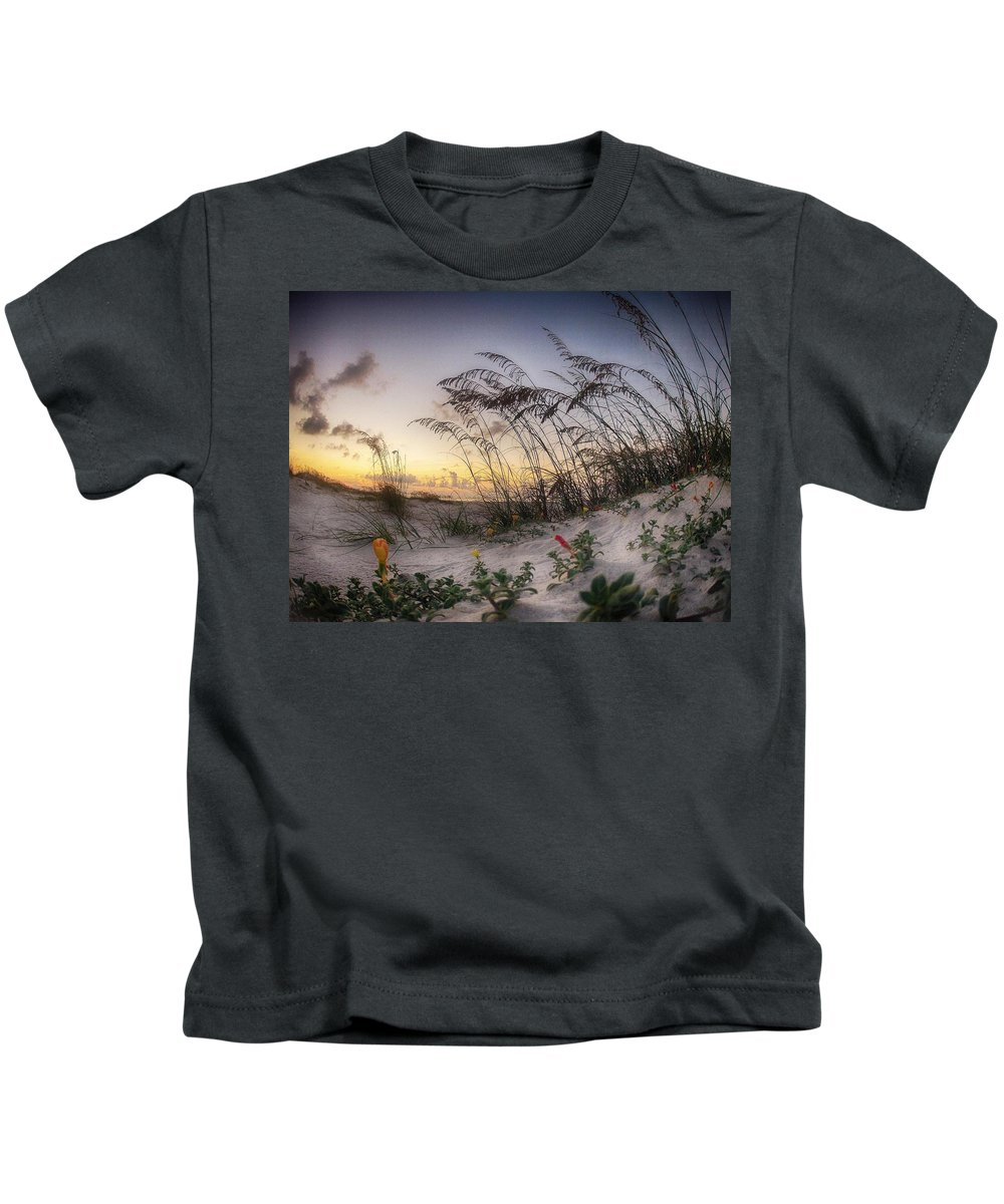 Palm Kids T-Shirt featuring the digital art Yellow And Red Flowers On The Beach by Michael Thomas